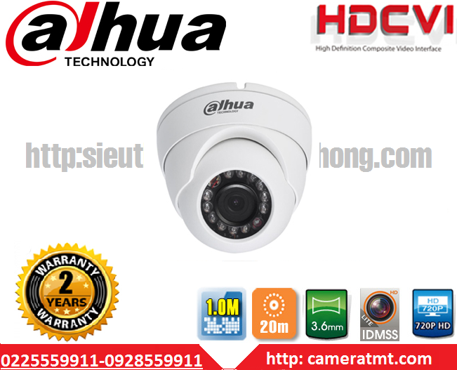 CAMERA DOME HDCVI DAHUA HAC-HDW 1000MP